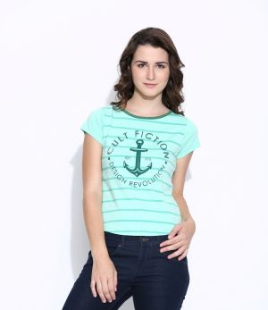 Buy Cult Fiction Green Cotton Cap Sleeve Tee For Women online
