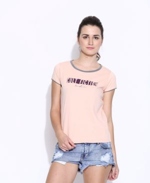 Buy Cult Fiction Lite Peach Cotton Printed Cap Sleeve Tee For Women online