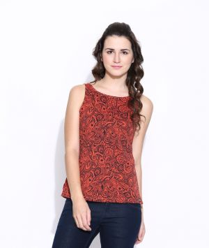 Buy Cult Fiction Orange Cotton Printed Sleeveless Tee For Women online