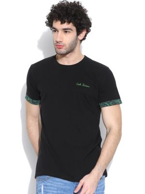 Buy Cult Fiction Basic Round Neck Black T-shirt For Mens online