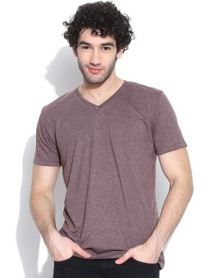 Buy Cult Fiction Basic V-neck Wine Marl T-shirt For Mens online