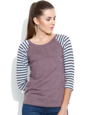 Buy Cult Fiction Raglan/contrast Sleeve Wine Marl T- Shirts For Womens online