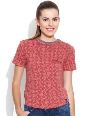 Buy Cult Fiction High Neck With Aop N-rust T- Shirts For Womens online