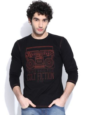 Buy Cult Fiction Round Neck Full Sleeves With Graphic Black T-shirt For Mens online