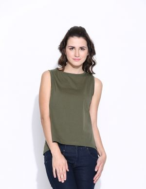 Buy Cult Fiction Olive Cotton Solid Sleeveless Tee For Women online