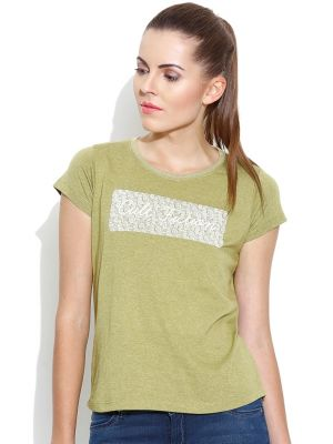Buy Cult Fiction Basic Round Neck With Graphic L-green Marl T- Shirts For Womens online