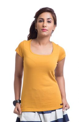 Buy Cult Fiction Cotton Yellow Solid Women