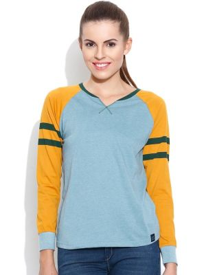Buy Cult Fiction Raglan/contrast Sleeve L-blue Marl T- Shirts For Womens online