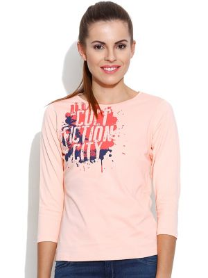 Buy Cult Fiction Round Neck With Graphic L-peach T- Shirts For Womens online