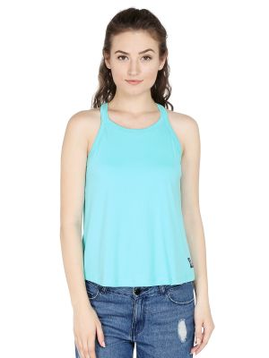 Buy Cult Fiction Comfort Fit 100% Cotton Fabric L-green Choker Round Neck Vest For Women-cfg10lg2006 online