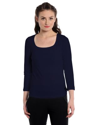 Buy Cult Fiction Comfort Fit 100% Cotton Fabric Dark Navy Square Neck T-shirt For Women-cfg3dn583 online