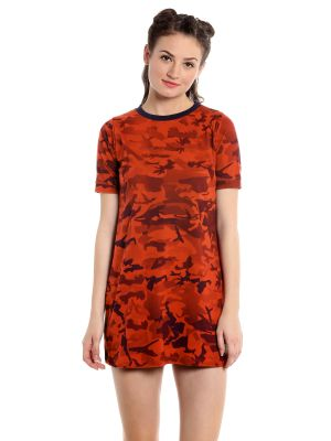 Buy Cult Fiction Comfort Fit 100 percent Cotton Fabric Orange Round Neck Dress For Women- online