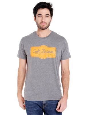 Buy Cult Fiction Round Neck Grey Color Half Sleeve Cotton T-shirt For Men online