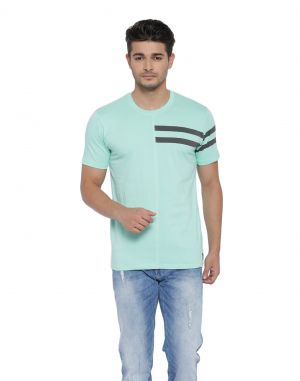 Buy Cult Fiction Cotton Fabric Half Sleeves Round Neck Green Color T-shirt For Men's-cfm01lg783 online