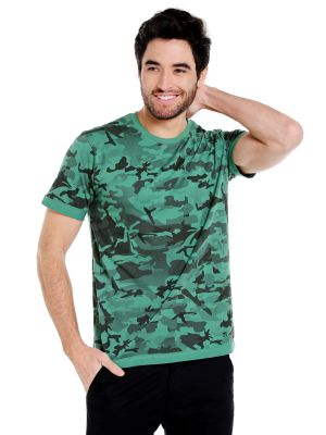 Buy Cult Fiction Round Neck Green Color Half Sleeve Cotton T-shirt For Men online