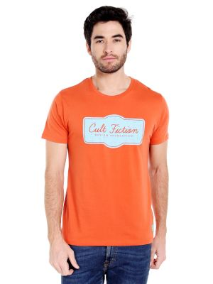 Buy Cult Fiction Round Neck Orange Color Half Sleeve Cotton T-shirt For Men online