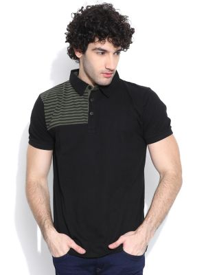 Buy Cult Fiction Comfort Fit Black Color Cotton Polo T-shirt For Men-cfm07bl839 online