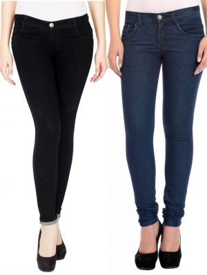 Buy Masterly Weft Black,blue Pack Of 2 Jeans For Women online
