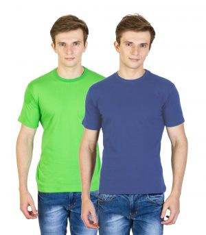Buy Firemark India Pack Of 2 Green & Navy Blue Cotton T Shirts For Men online