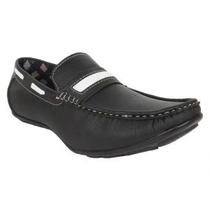 Buy Firemark Mens Artificial Leather Black Slip on Loafers online