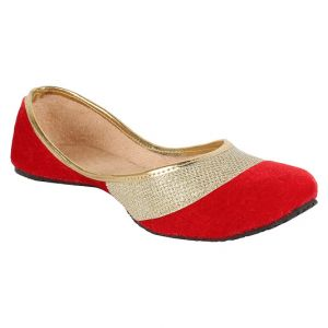 Buy Sassily Red Artificial Leather Jutis For Women online