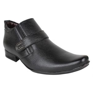 Buy Firemark Mens Artificial Leather Black Slip on Monk Shoes online