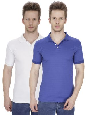 Buy Firemark Pack Of 2 Blue & White T Shirts For Men online
