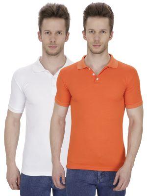 Buy Firemark Pack Of 2 White & Orange T Shirts For Men online