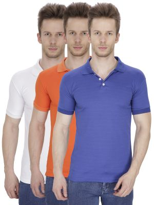 Buy Firemark Pack Of 3 Blue, Orange & White T Shirts For Men online