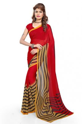 Buy Calaso Gorgeous Red Strip Printed Georgette Saree online