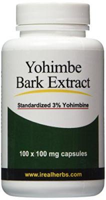 Yohimbe Bark Extract - Standardized To 3% Yohimbine HCL - 100 Mg X 100  Capsules