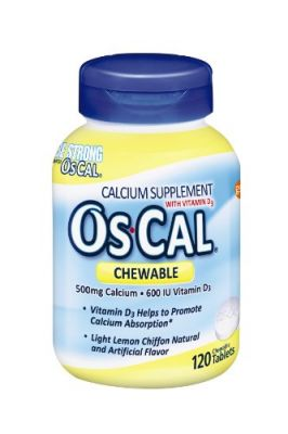 Buy Os-cal Chewable Calcium 500 + 600iu D3, Lemon Chiffon Flavor, 120 Chewable Tablets online