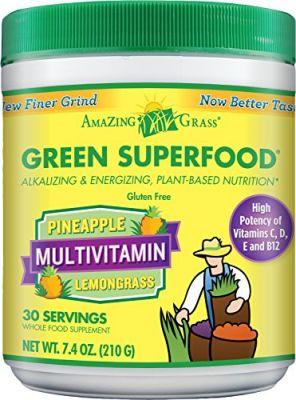 Buy Amazing Grass Green Superfood Multivitamin Pineapple Lemongrass, 30 Servings, 7.4 Ounces online