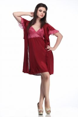 Buy Belle Nuits Poly Satin Maroon Women Sleepwear online