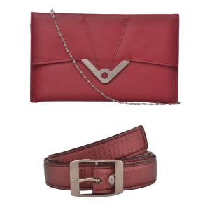 Buy Exotique Women's Red Casual Belt & Clutch Combo (ec0015rd) online
