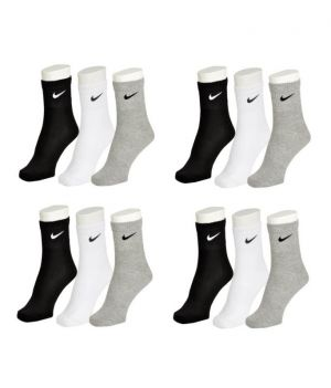 Buy Nike Mens Cotton Multicolor Socks (9 Pair Socks- 3 Black,3 White ,3 Grey) online