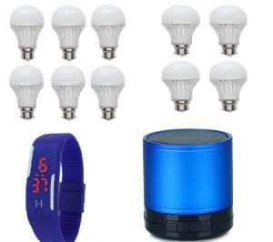 Buy Vizio Combo Of 7 W LED Bulbs(set Of 6), 3 W LED Bulbs(set Of 4) With Bluetooth Speaker , Digital Watch online