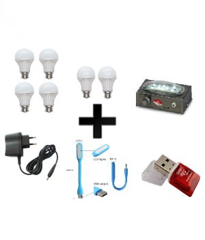 Buy Vizio Combo Of 20 W LED Bulbs(set Of 4) , 15 W LED Bulbs(set Of 2) With Emergency Light(6 Led) , Charger Cable USB Light Card Reader online