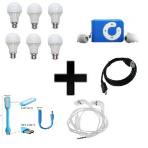 Buy Vizio Combo Of 15 W LED Bulbs(set Of 6) With MP3 Player , Earphone , Data Cable, USB Light online