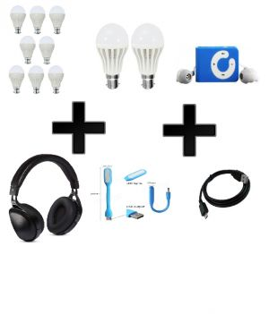 Buy Vizio Combo Of 12 W LED Bulbs(set Of 8), 5 W LED Bulbs(set Of 2) With MP3 Player , Headphone, Charging Cable, USB Light online