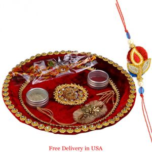 Buy Designer Rakhi Thali For Usa online