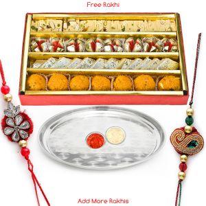 Buy Haldiram's Assorted Sweets N Designer Steel Thali online