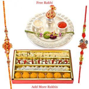 Buy Haldiram Assorted Sweets N Silver Plated Rakhi Thali online
