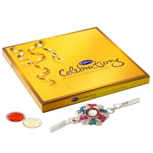 Buy Silver Plated Rakhi With Cadbury Celebration For Kids online