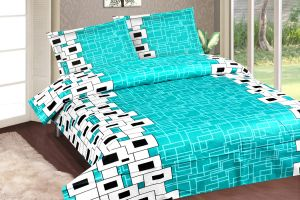 Buy Royal Choice Light Blue Cotton Double Bedsheet Alongwith Two Pillow Covers online