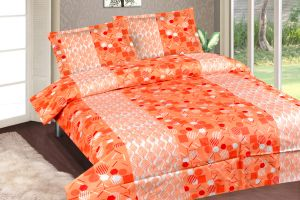 Buy Royal Choice Orange Cotton Double Bedsheet Alongwith Two Pillow Covers online