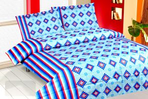 Buy Royal Choice Blue Cotton Double Bedsheet Alongwith Two Pillow Covers online