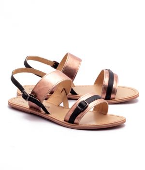 Buy Naughty Walk Bronze & Black Genuine Leather Sandals 701 online