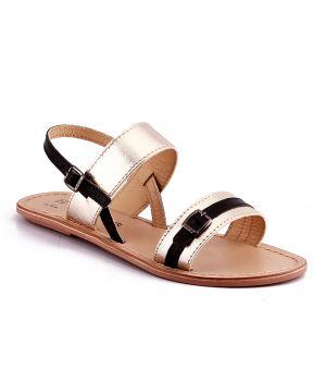 Buy Naughty Walk Gold & Black Genuine Leather Sandals 701 online