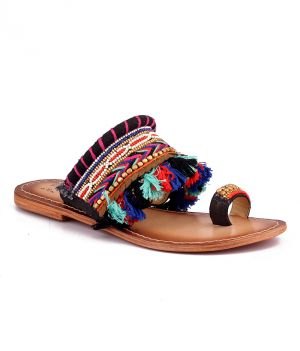 Buy Naughty Walk Multi color Genuine Leather Ethnic Sandals online